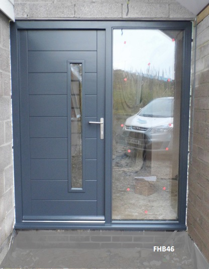 contemporary grey door and sidelight