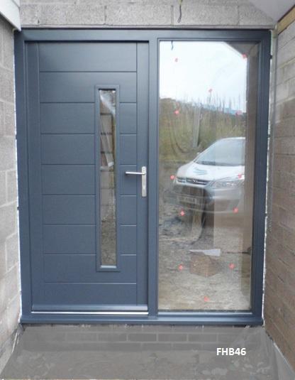 Contemporary front doors oak iroko and other woods for Grey french doors uk
