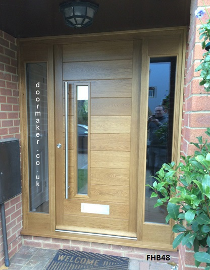 contemporary oak door and sidelights