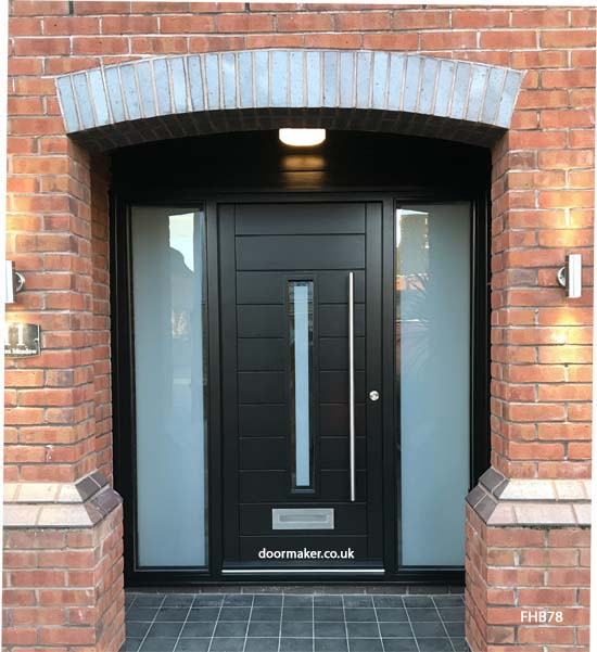 black contemporary door sidelights