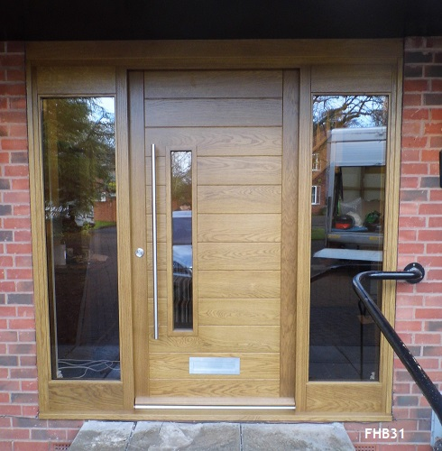 oak contemporary door and sidelites