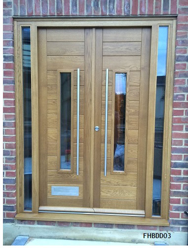 oak contemporary double doors