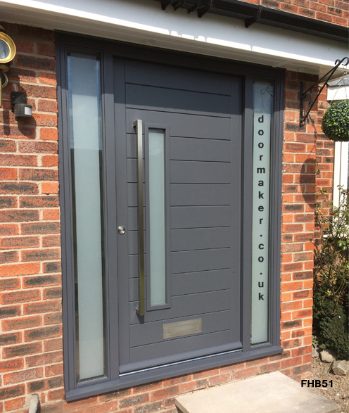 contemporary grey door and sidelights