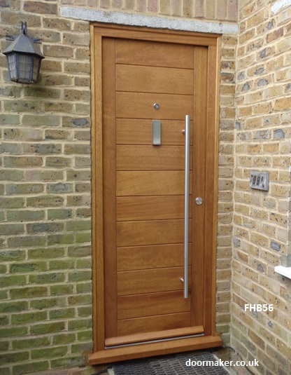 contemporary iroko doorset