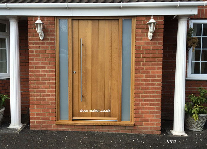 contemporary oak door with sidelights