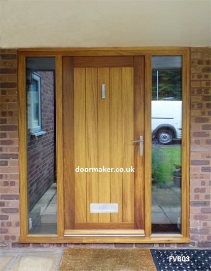 Contemporary oak vertical boarded door and frame with sidelights - Iroko Contemporary Framed Vertical Boarded Door And Frame With Fully