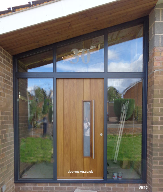 iroko contemporary door and sloped frame