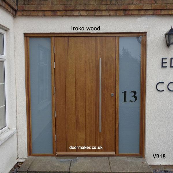 contemporary iroko door and sidelights & Contemporary Front Doors oak iroko and other woods Bespoke Doors