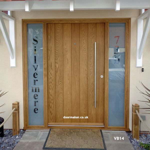 contemporary oak vertical boarded door and frame with sidelights & Contemporary Front Doors oak iroko and other woods Bespoke Doors