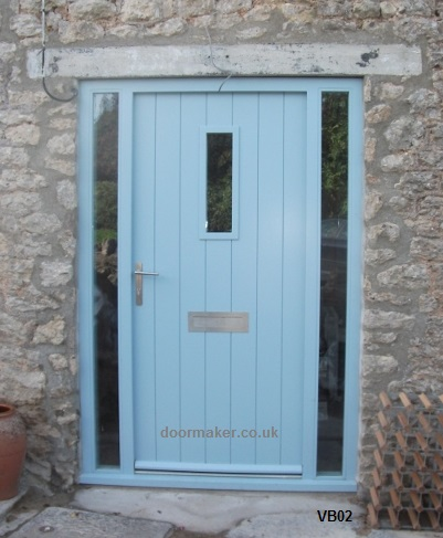 contemporary door vertical boards blue