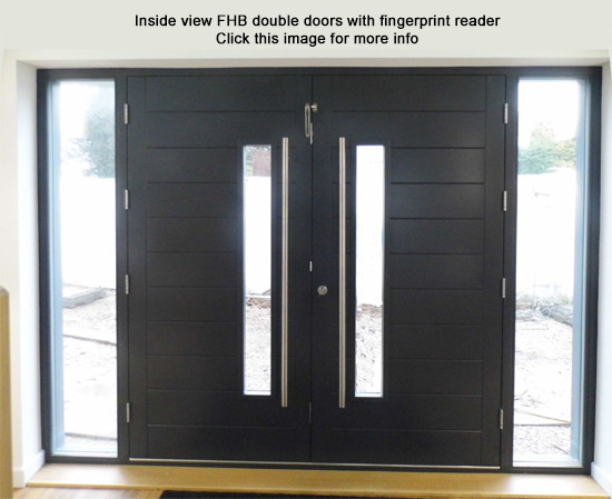 contemporary double doors fingerprint reader
