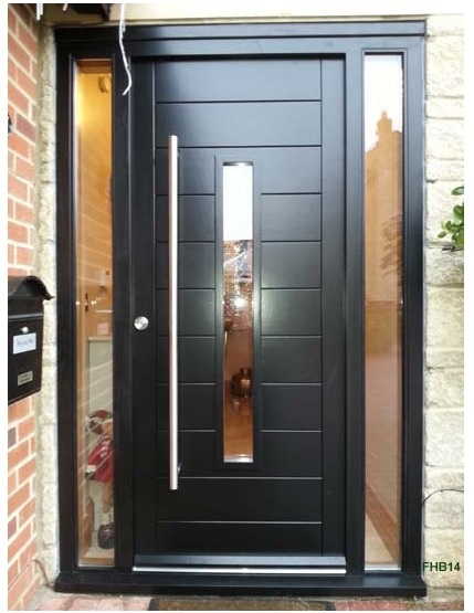 black contemporary door and sidelights black