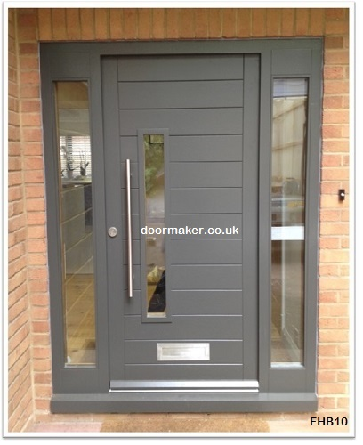 contemporary front door and sidelights grey