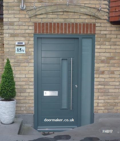 grey contemporary door and frame with sidelight