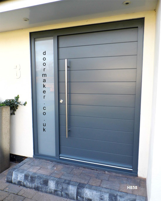 grey contemporary door sandblast sidelight