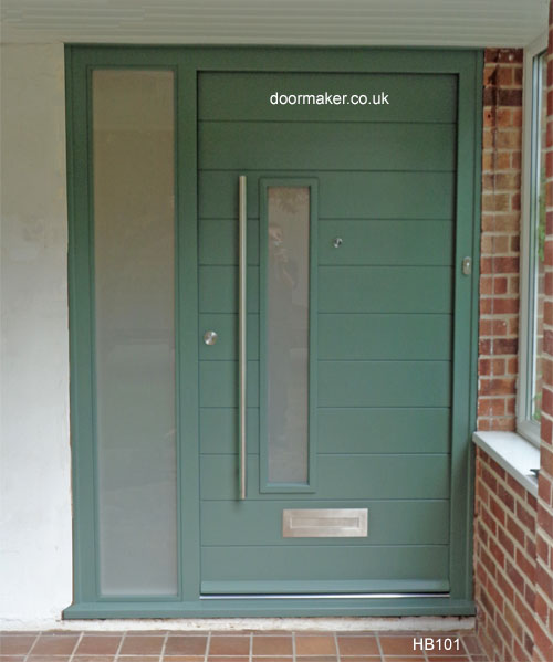 contemporary door with sidelight green smoke