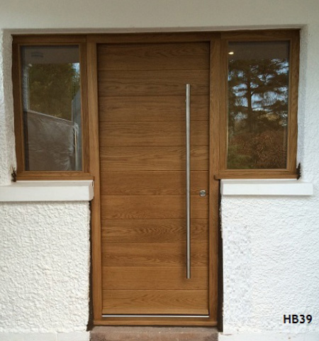 oak contemporary door side windows