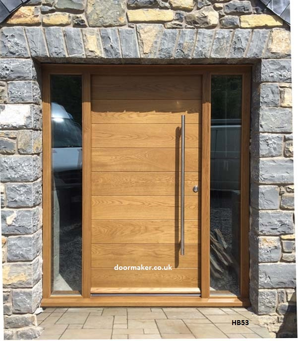 Contemporary front doors oak iroko and other woods for Large wooden front doors