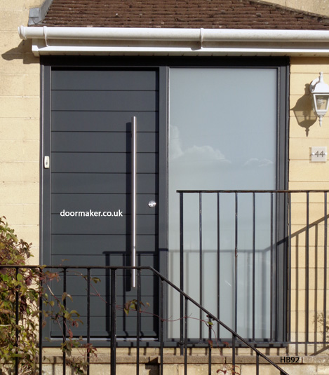 anthracite grey contemporary door and equal sidelight