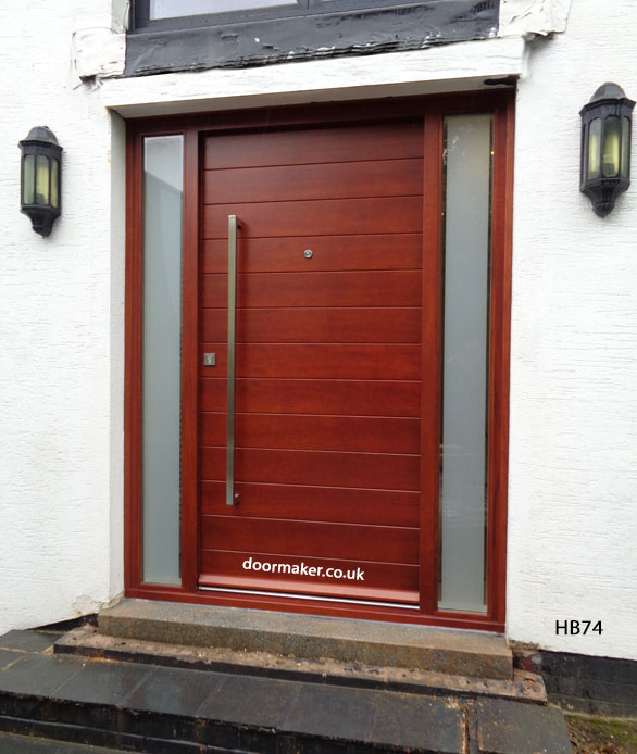 contemporary iroko door and sidelights