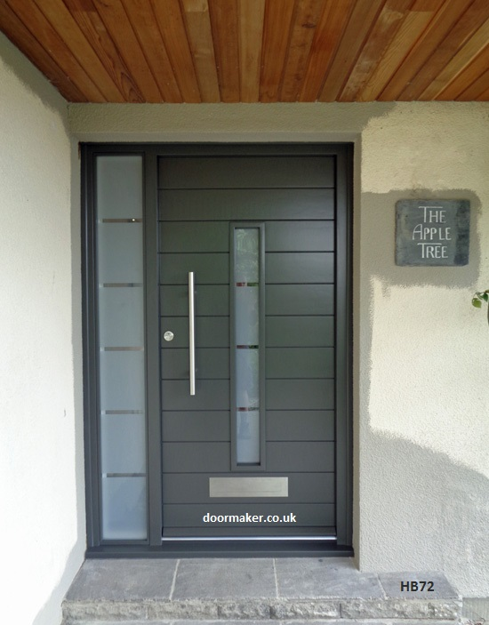 contemporary grey door etched sidelight